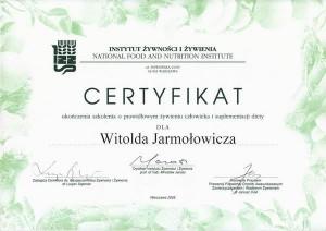 Certyfikat ukończenia szkolenia o prawidłowym żywieniu człowieka i suplementacji diety