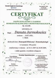 Certyfikat ukończenia kursu z zakresu homeopatii klinicznej i homotoksygologii